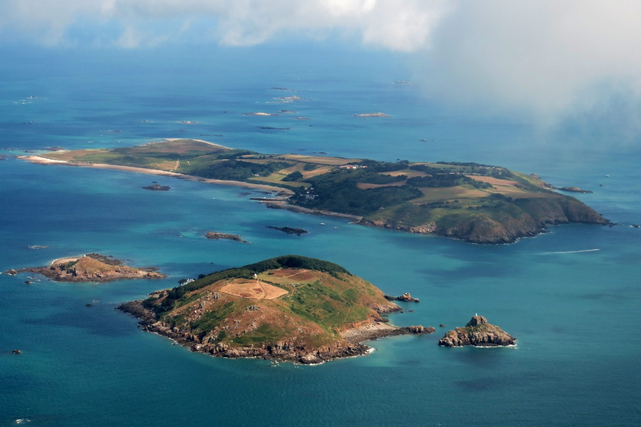 An aerial view of Herm and Jethou Islands