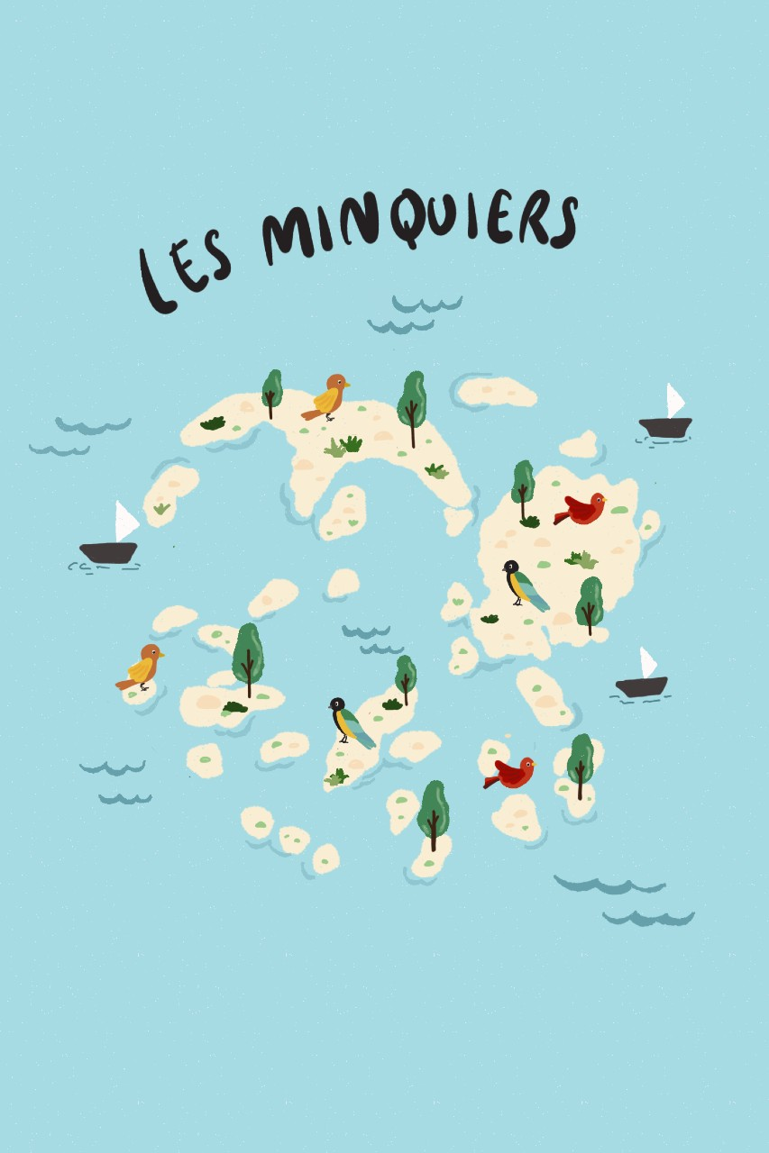 Map of Les Minquiers, Channel Islands