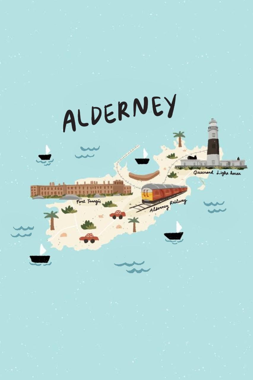 Alderney map, Channel Islands