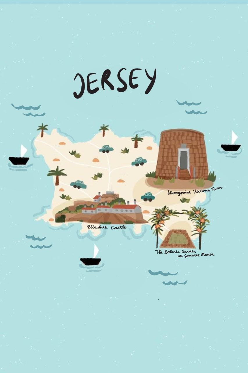 Map of Jersey, Channel Islands
