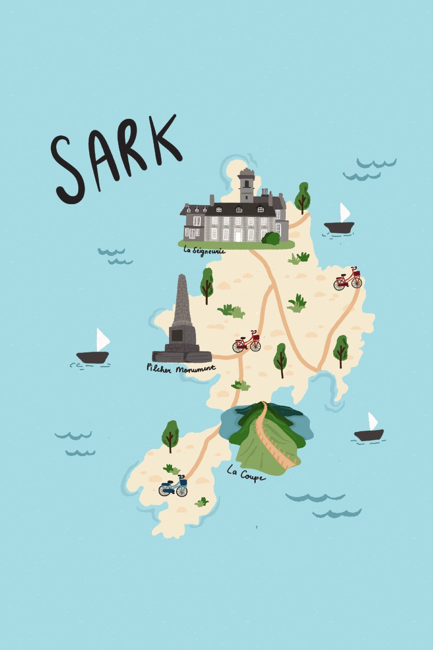 Map of Sark, Channel Islands