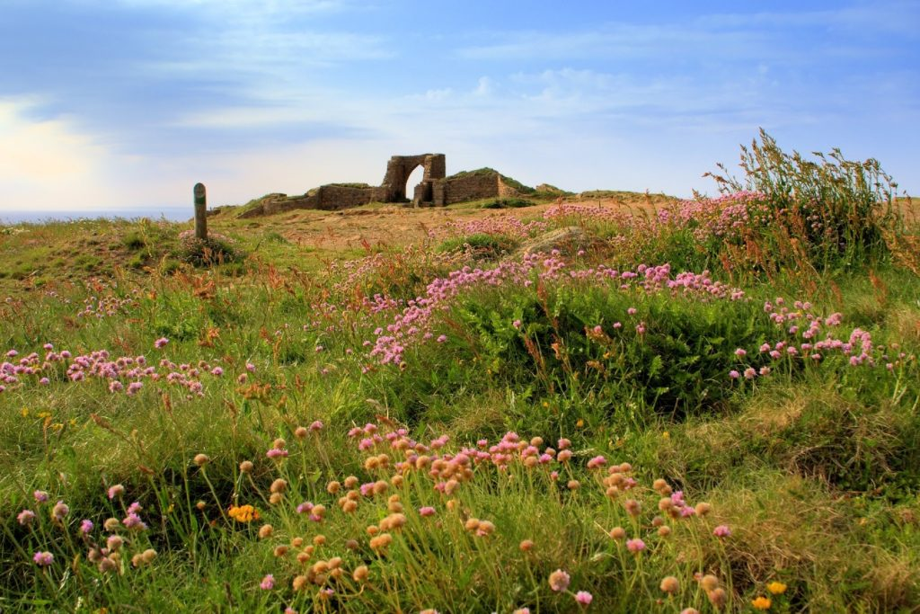 Ruins of the Grosnez castle in Jersey, Channel Islands