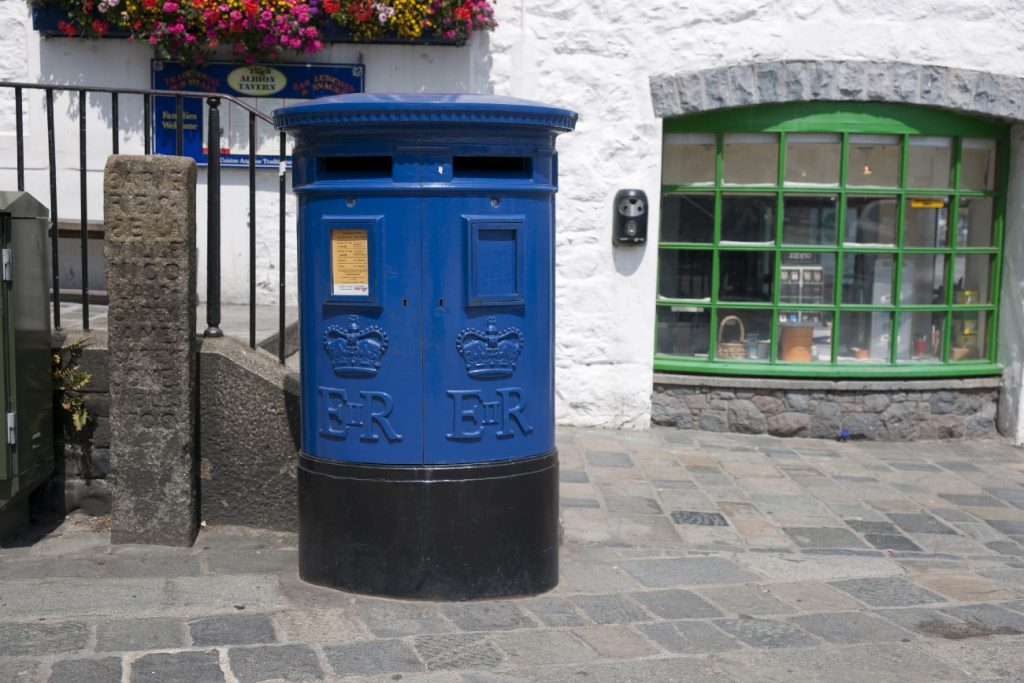 Blue post boxes in Guernsey, Channel Islands
