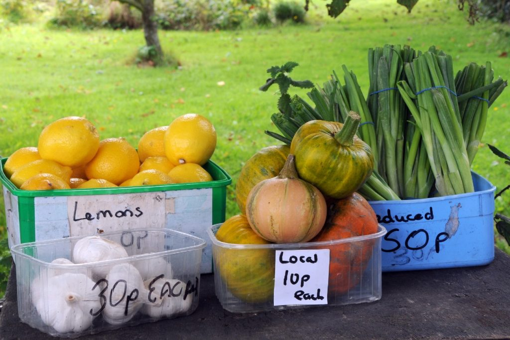 Fruit and vegetable for sale at Guernsey, Channel Islands