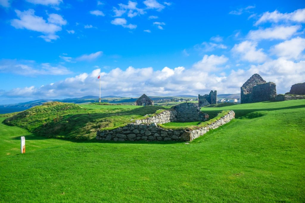 Peel Castle on top of Peel Hill on the Isle of Man