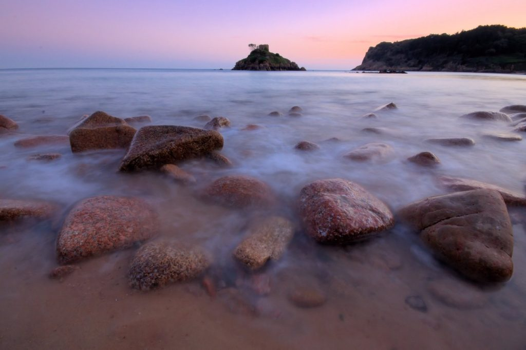 Portelet Bay in Jersey at sunset