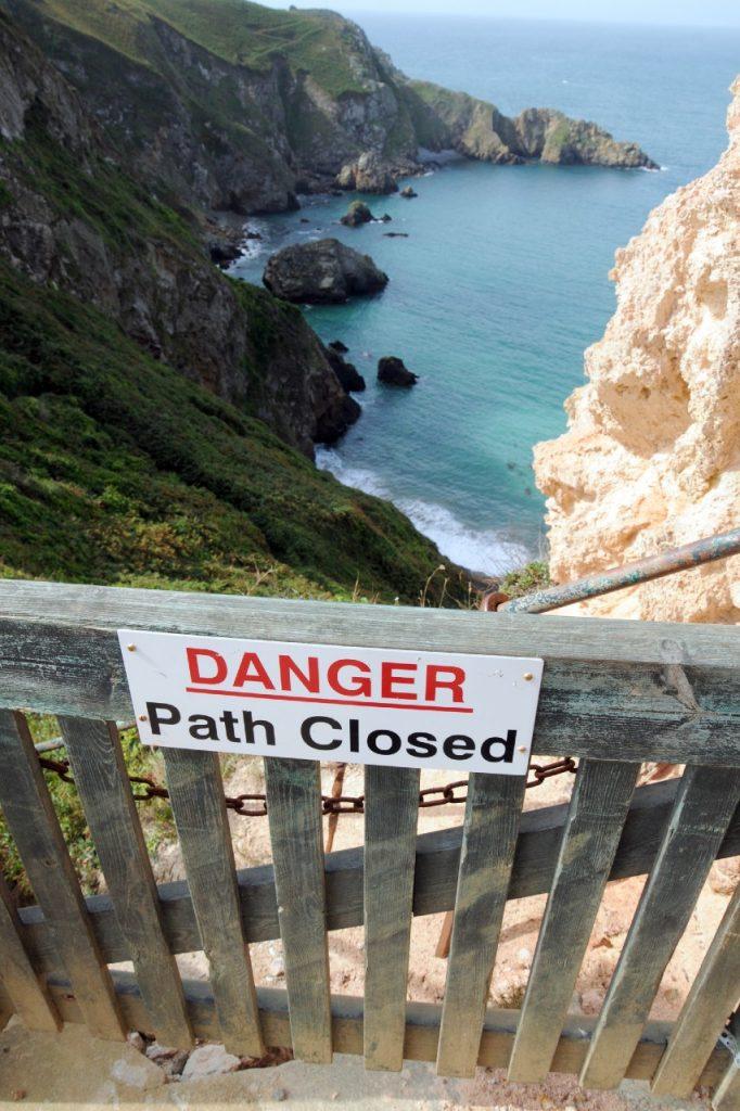 Closed cliff path on Sark