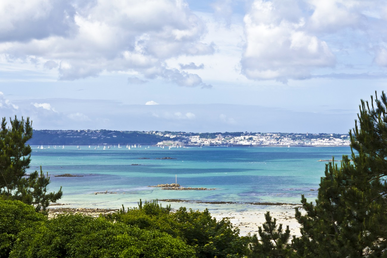 View of St Peter Port on Guernsey from Herm