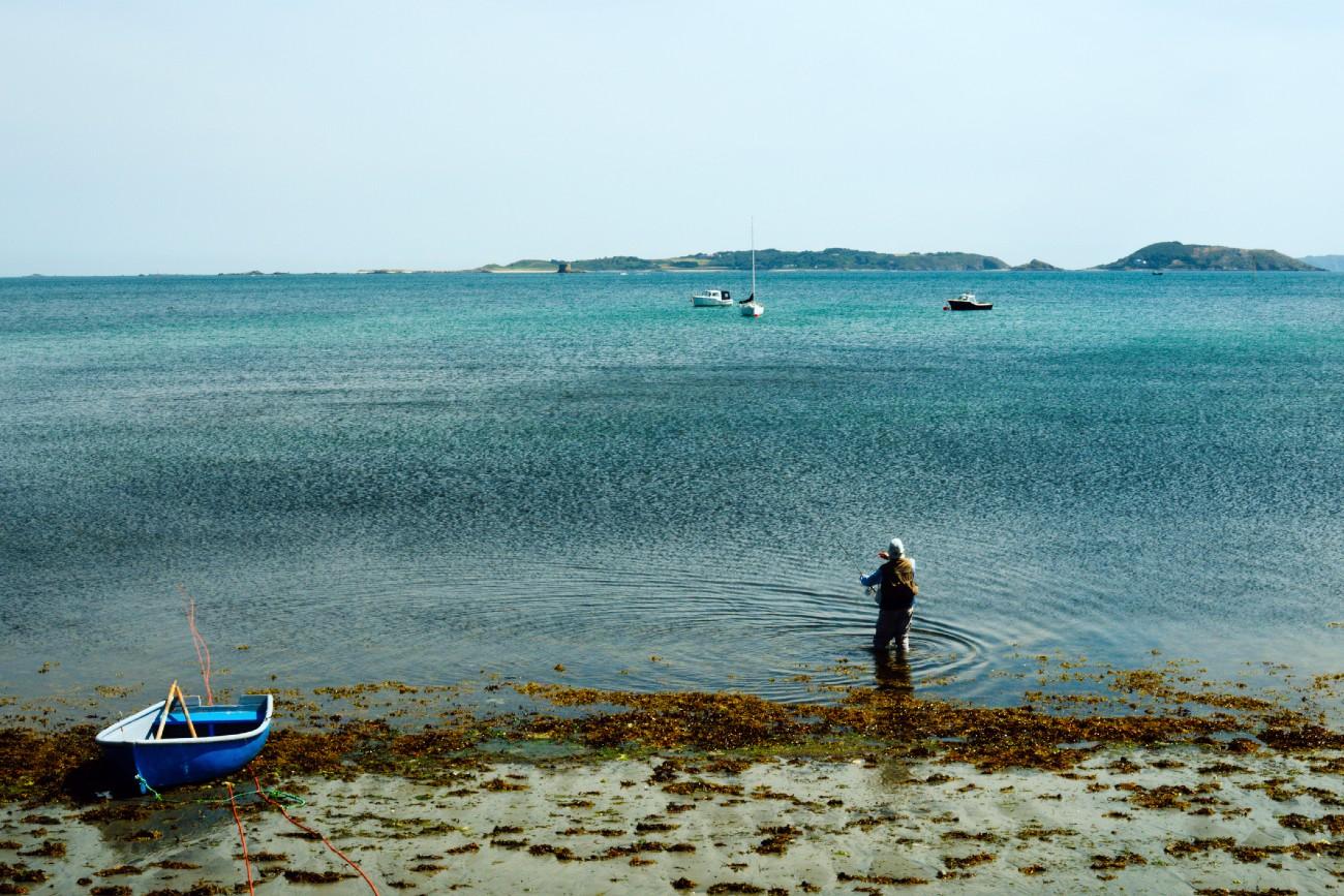 Man fishing in Guernsey