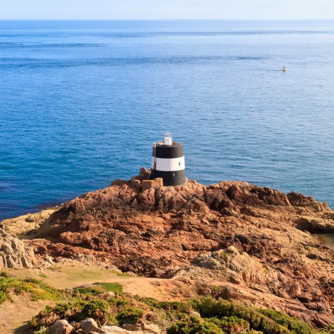 Noirmont Point Lighthouse, St. Aubin`s Bay, Jersey