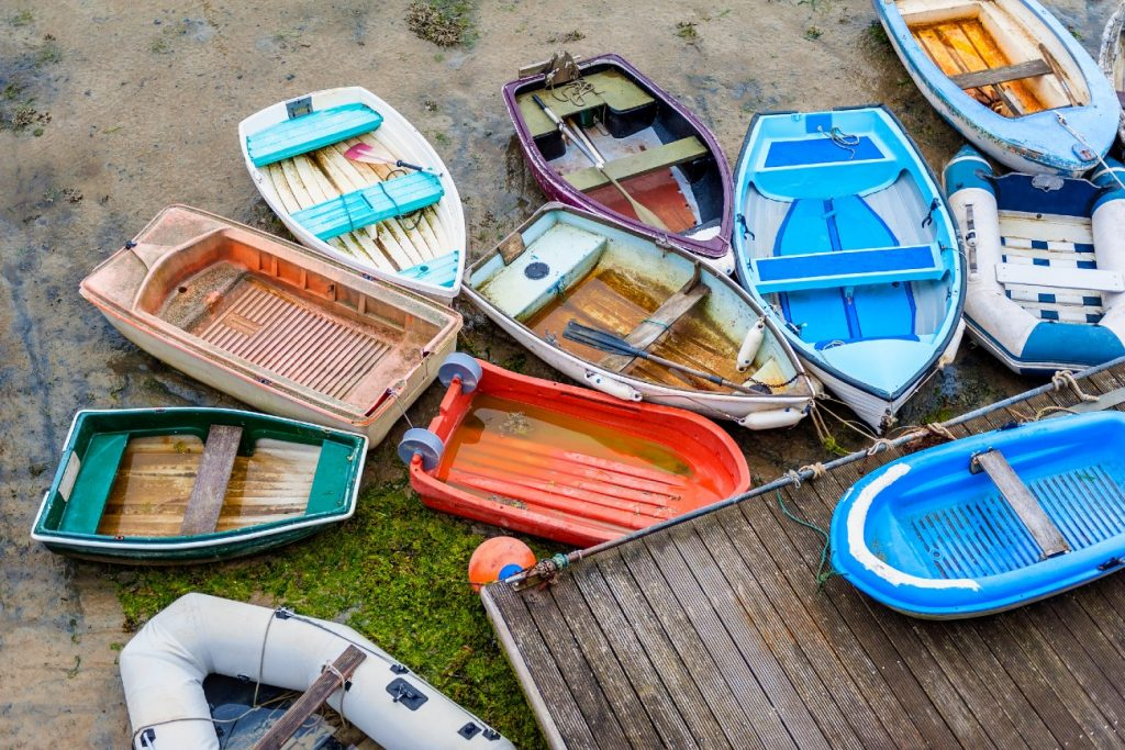 Boats at low tide in Harbour of Saint Aubin