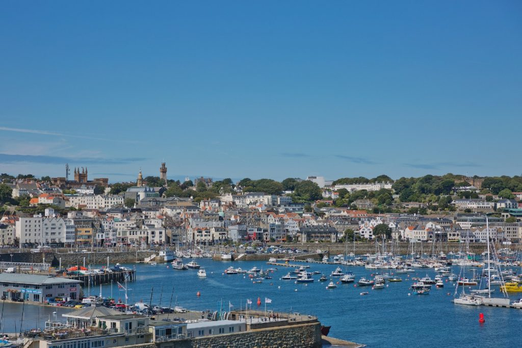 View of a bay in St. Peter Port in Guernsey
