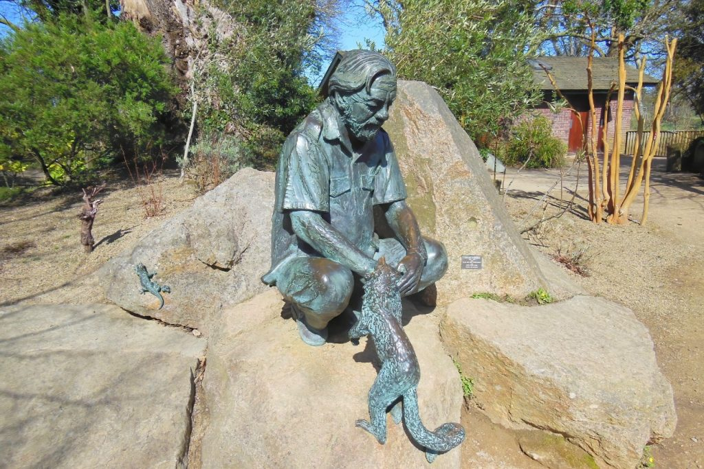 Statue of Gerald Durrell at the Zoo in Jersey