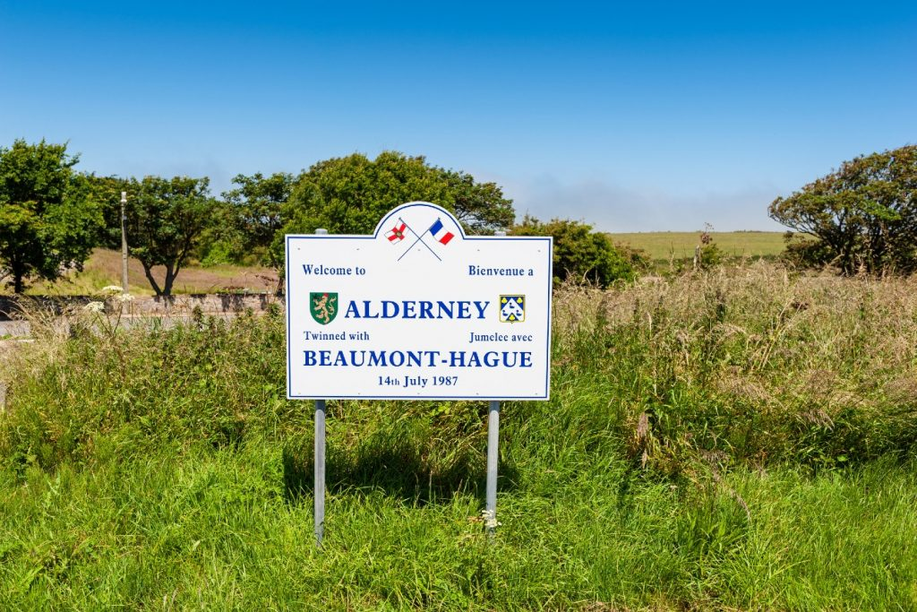 Welcome sign Aldernsey, Channel Islands